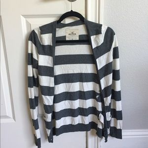 XS Hollister cardigan grey and white stripes